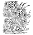 pattern with doodle ornament of flowers vector image vector image