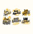 set of icons bon appetit lettering written food vector image