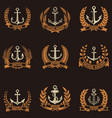 set of the emblems with anchors and wreaths in vector image vector image