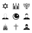 Spirituality icons set simple style vector image