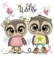 two cute owls on a flowers background vector image