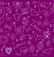 Valentines day large icons set seamless pattern