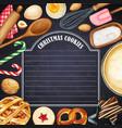 watercolor blackboard with christmas cookies vector image vector image