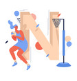 woman playing netball with ball in hands concept vector image