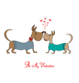 Valentine s day greeting card with cartoon dog vector image