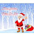 Cartoon Santa clause with winter background vector image