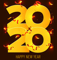 2020 happy new year gold numbers design vector image