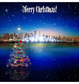 Abstract stars with panorama of city and Christmas vector image vector image