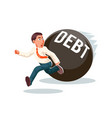 banking economic crisis run away businessman debt vector image