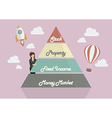 Business woman presenting the Pyramid chart of vector image vector image