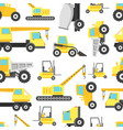 cartoon construction machinery seamless pattern vector image