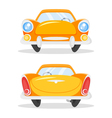 cartoon style of vintage old yellow car Back and vector image vector image