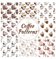 Coffee seamless pattern of beans cups icons