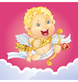cupid flying on a cloud vector image vector image