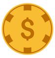 dollar casino chip flat icon vector image