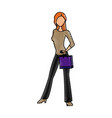 drawing woman standing shooping image vector image vector image