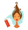 female face with raised hair and bottle spraying vector image vector image