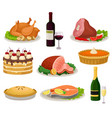 flat set of traditional holiday food and vector image