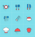 Food and restaurant icons icon set in flat design vector image vector image