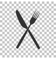 Fork and Knife sign Dark gray icon on transparent vector image