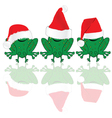 frog with red christmas hat vector image vector image