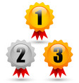 gold silver bronze medals with 1st 2nd 3rd labels vector image
