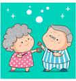 grandparent clean dentures cartoon vector image vector image