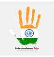 Handprint with the Flag of India in grunge style vector image vector image