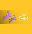 happy easter holiday banner with paper art bunny vector image vector image
