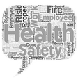 Health and safety at work text background vector image vector image