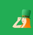 irish girl celebrating saint patricks day vector image vector image