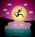 Jumping Over Precipice Cartoon - Man or Woman Leap vector image