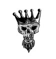 king beard skull scratchboard vector image