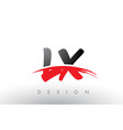 lx l x brush logo letters with red and black vector image vector image