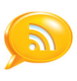 orange speech bubble icon rss sign or wi-fi signal vector image