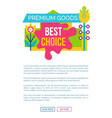 premium good best choice sale emblem flower vector image vector image