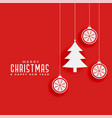 red background with christmas tree and balls vector image