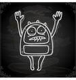 Scared Alien Drawing on Chalk Board vector image vector image