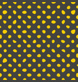 seamless pattern with yellow polka dots on black vector image vector image
