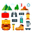 set mountain travel icons flat vector image