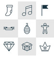 set of 9 new year icons includes open cardboard vector image vector image