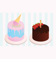 set of birthday cakes birthday party elements vector image vector image