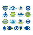 set soccer emblems and icons vector image