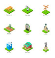 sights of the town icons set isometric style vector image vector image