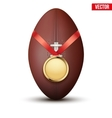 Sport gold medal with ribbon for winning rugby vector image vector image