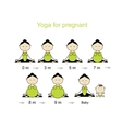 Stages of pregnancy woman in lotus pose for your vector image