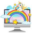 unicorn on laptop desktop background vector image vector image