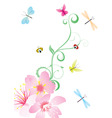 vector flower corner with butterflies vector image vector image