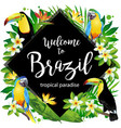 welcome to brazil rhombus vector image vector image