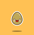 cute happy egg cartoon character isolated on white vector image